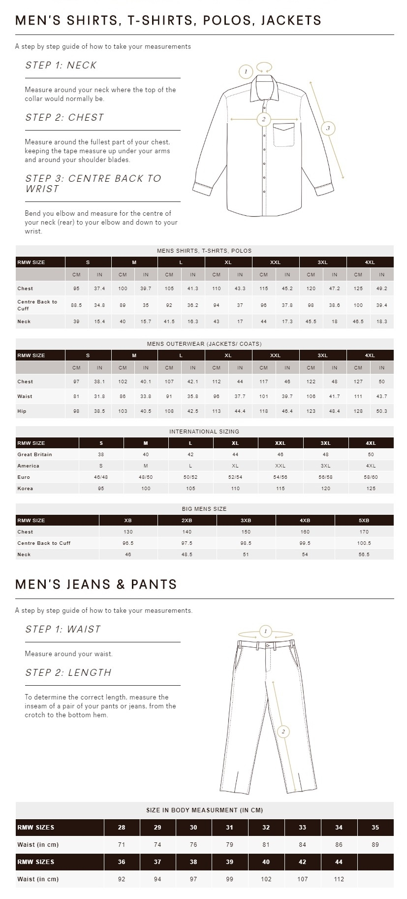 RM Williams - Men's Clothing Size Guide