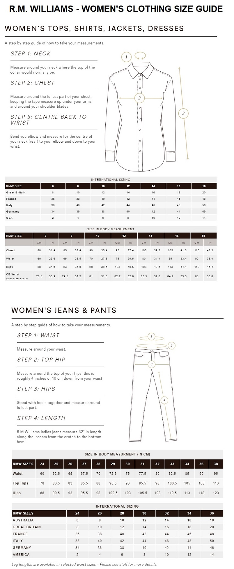 RM Williams - Women's Size Guide