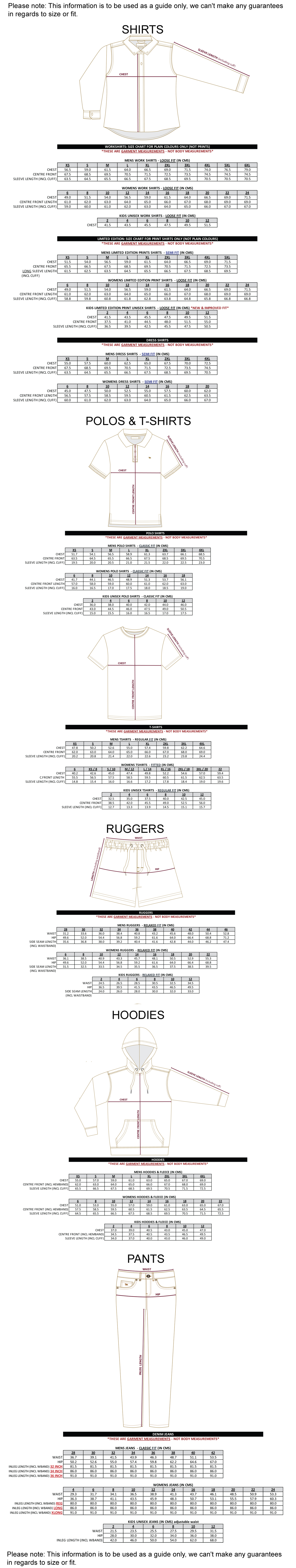 Ringers Western Size Guide