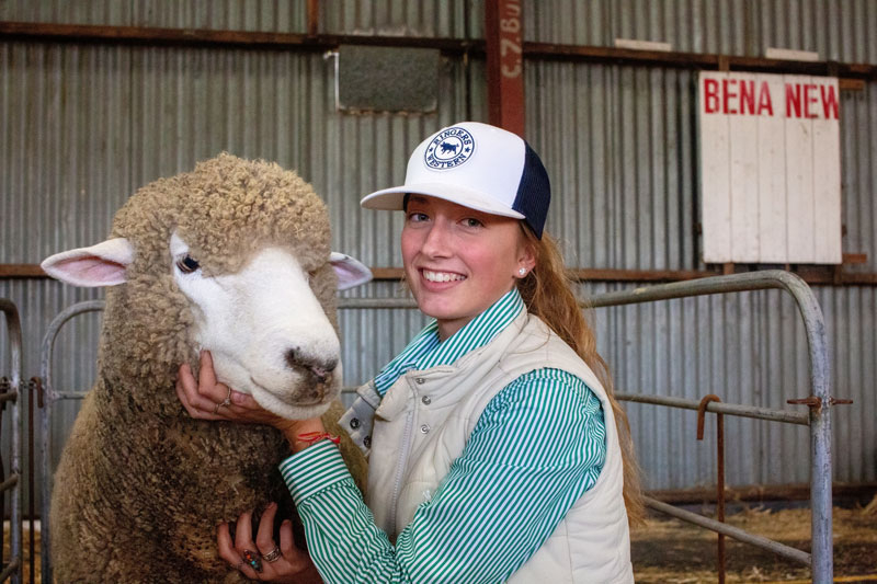 Caley and a Prize Winning Corriedale Ewe